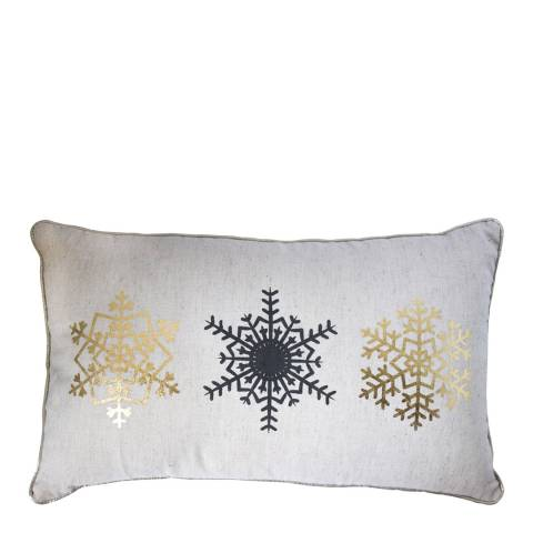 Gallery Metallic Snowflake Trio Printed Cushion 30 x 50 cm