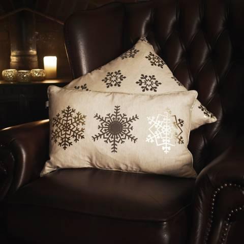 Gallery Metallic Snowflake Trio Printed Cushion 30x50cm