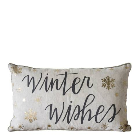 Gallery Metallic Winter Wishes Printed Cushion 30 x 50 cm