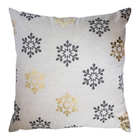 Gallery Metallic All Over Snowflake Printed Cushion 45x45cm