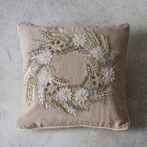 Gallery Beige Hand Embroidered Wreath Cushion 40x40cm