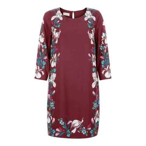 Monsoon Burgundy Claudette Print Dress