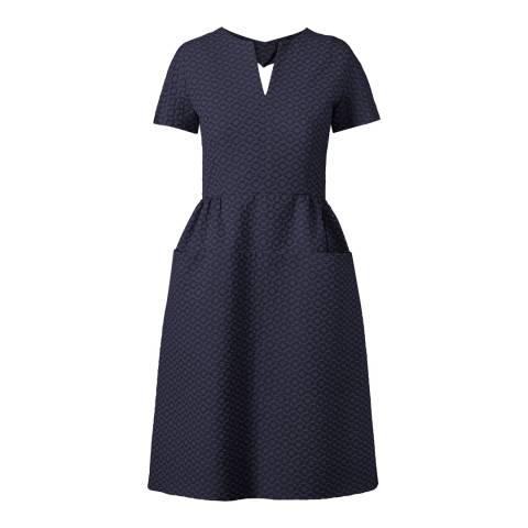 Orla Kiely Navy Blue Flower Spot Jacquard Heart Cut Out Dress