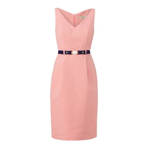Orla Kiely Coral Flower Spot Jacquard Belted Dress