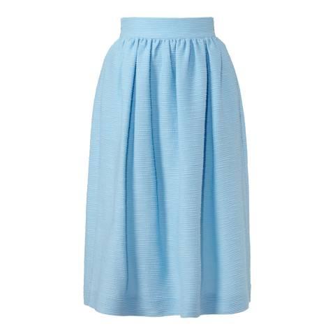Orla Kiely Blue Slub Silk and Cotton Gathered Skirt