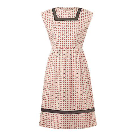 Orla Kiely Pink Busy Bee Print Organza Stripe Dress