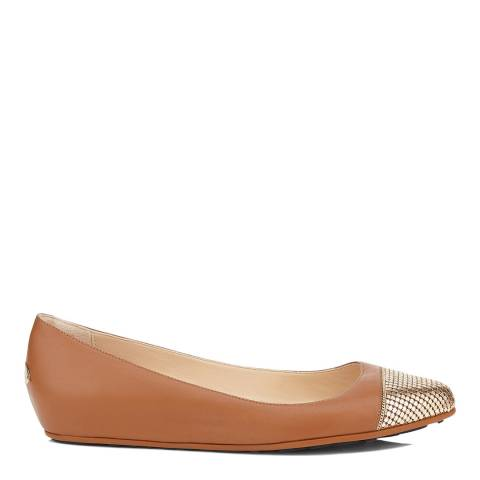 Jimmy Choo Brown Leather Waine Ballet Flats With Gold Mesh