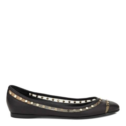 Jimmy Choo Black Leather Wes Ballet Flats With Studs