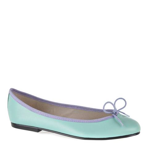 French Sole Teal Leather India Ballet Flats
