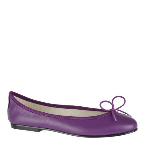 French Sole Purple Leather India Ballet Flats