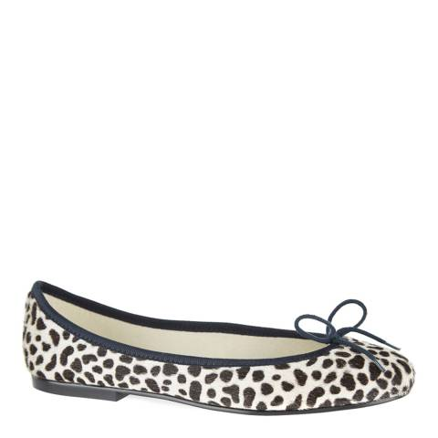 French Sole Snow Leopard Pony Hair Navy Trim India Ballet Flats