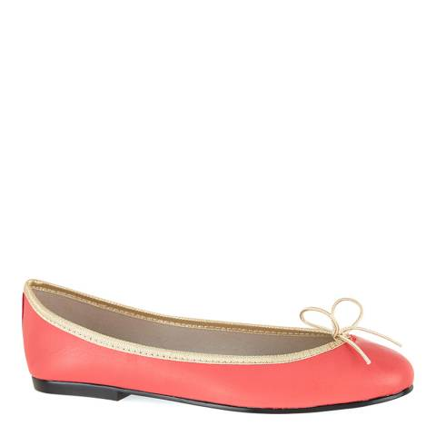 French Sole Coral/Gold Leather India Ballet Flats