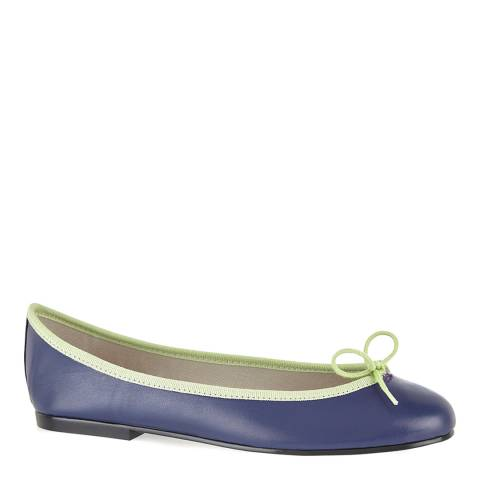French Sole Navy/Green Leather India Ballet Flats
