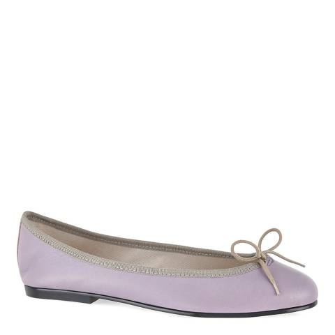 French Sole Lilac/Beige Leather India Ballet Flats