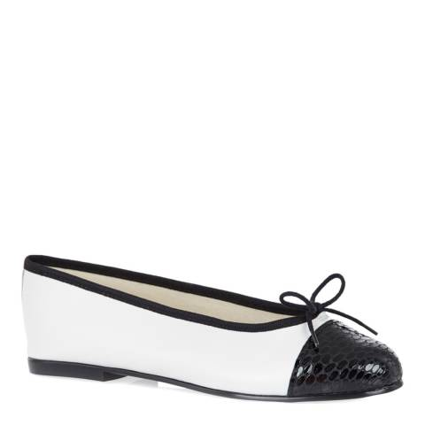 French Sole White/Black Leather Simple Ballet Flats