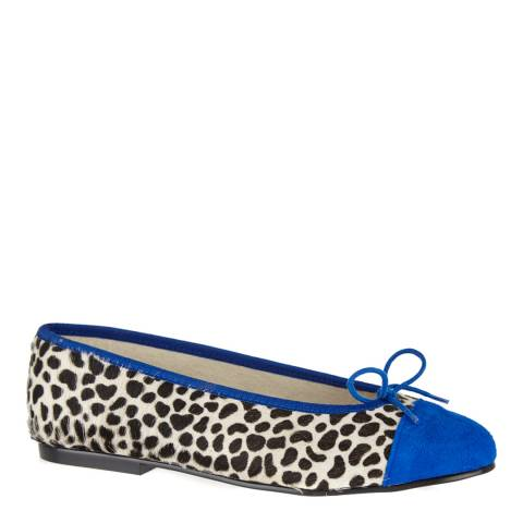 French Sole Snow Leopard Pony Hair Cobalt Trim Simple Ballet Flats