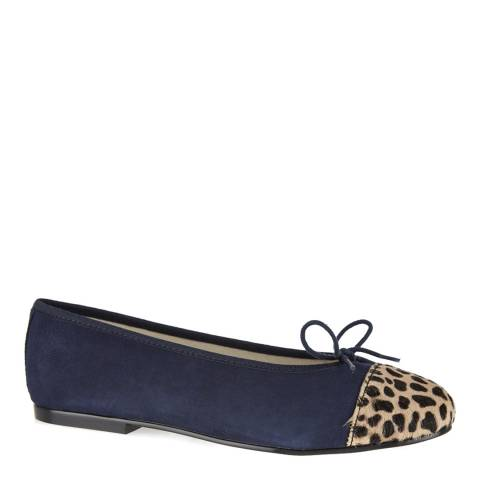 French Sole Blue Suede Leopard Toe Cap Simple Ballet Flats