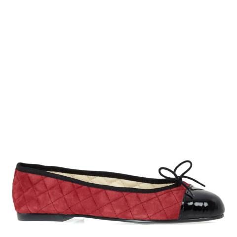 French Sole Red/Black Suede Quilt Simple Ballet Flats