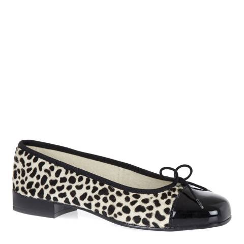 French Sole Leopard Print Pony Hair Square Toe Ballet Flats