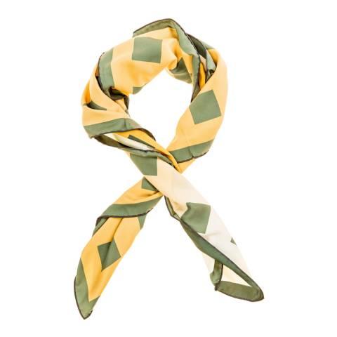 Versace 19.69 ASMI Green/Yellow Logo Flower Printed Scarf