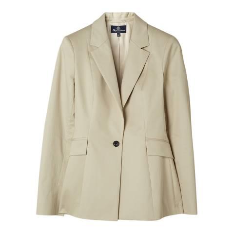 Aquascutum Cream Theresa Cotton Blend Stretch Jacket
