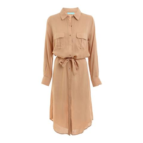 Melissa Odabash Beige Maryanne Shirt Dress