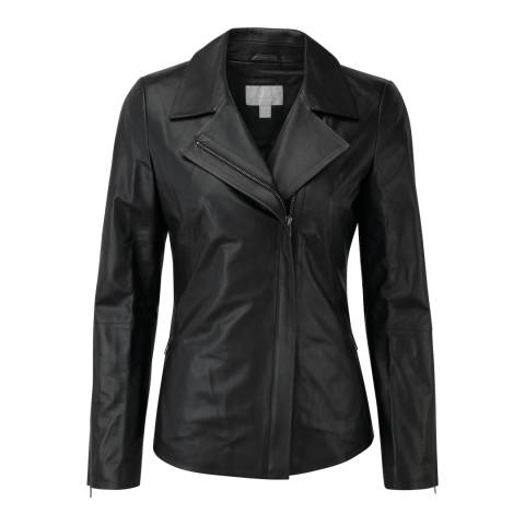 Pure Collection Black Leather Biker Jacket