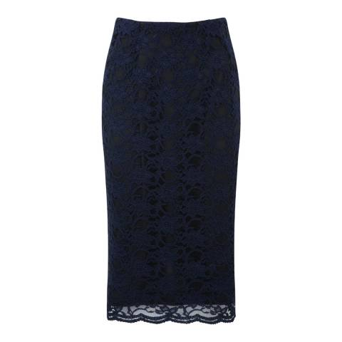 Pure Collection Navy Lace Pencil Skirt