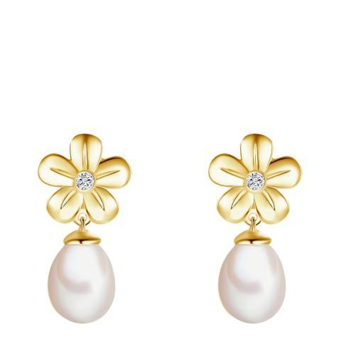Tess Diamonds Gold Pearl Flower Drop Stud Earrings 7mm
