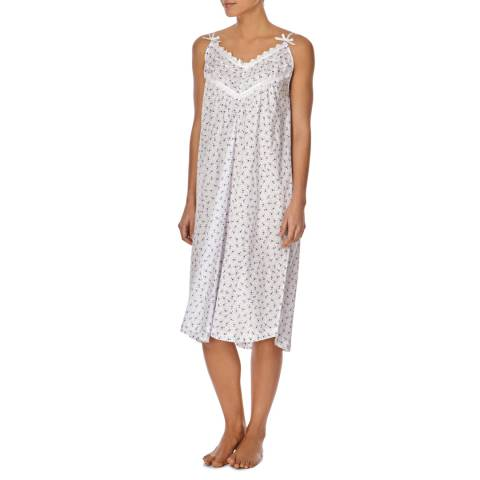 Cottonreal White/Lilac Co/Lawn Dittsy Floral Strappy Night Dress