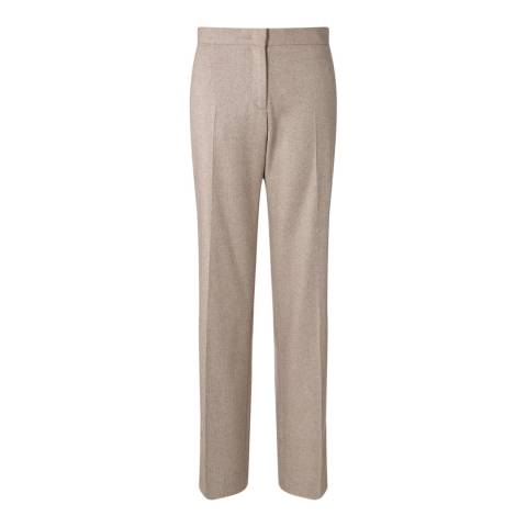 Jigsaw Womens Beige Textured Flannel Wool Blend Trousers