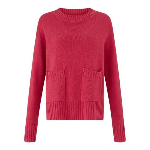Jigsaw Pink Crew Neck Pocket Sweater