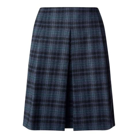 Jigsaw Blue Check Wool Blend Pleat Skirt