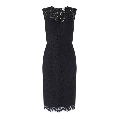 Jigsaw Womens Black V Neck Cotton and Viscose Lace Dress