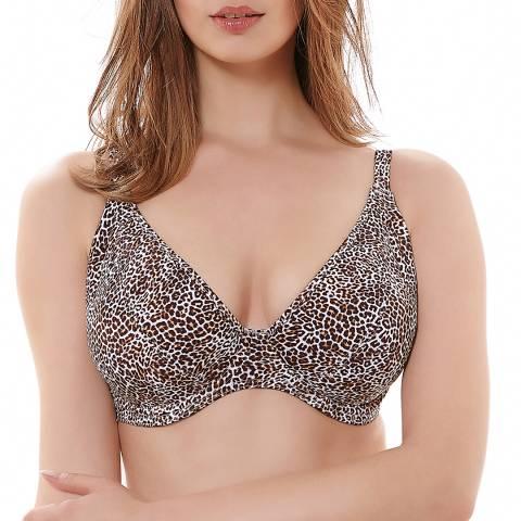 Freya Brown Leopard Print Rumble Underwired Padded Plunge Bikini Top