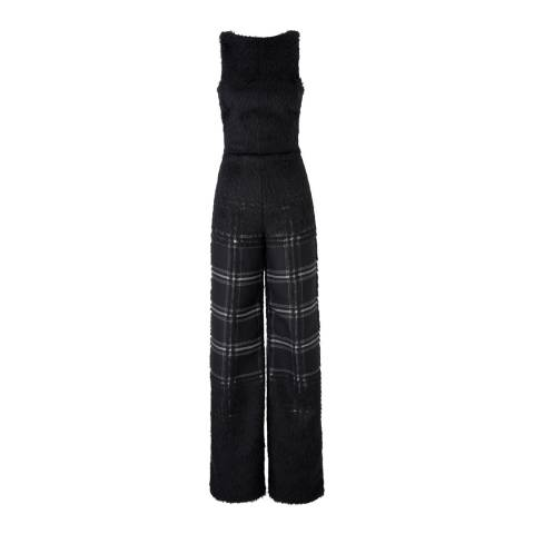 Amanda Wakeley Black/Pebble Ishi Jacquard Mohair Jumpsuit