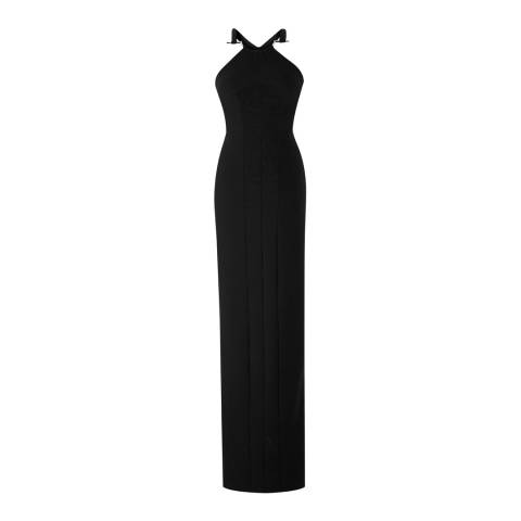 Amanda Wakeley Black Tsuchi 'U' Bar Pique Jersey Dress