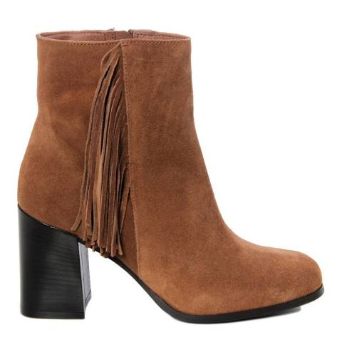 Gusto Camel Leather Crosta Block Heel Ankle Boots