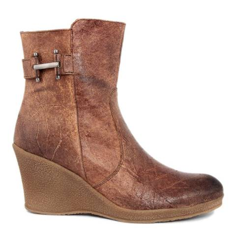 2a53846fd4 Pielibre Brown Distressed Leather Effect Wedge Ankle Boots