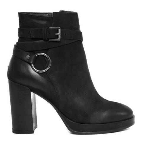 Gusto Black Leather Prince Ankle Boots