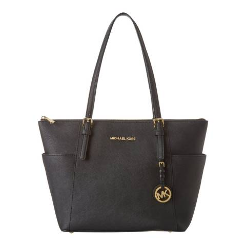 Michael Kors Black Jet Set Leather Tote Bag