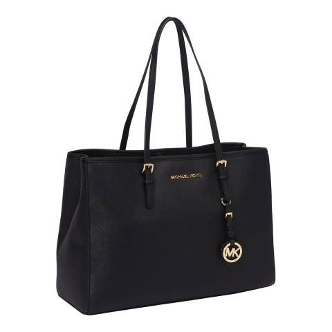 Michael Kors Black Jet Set Large Leather Tote Bag