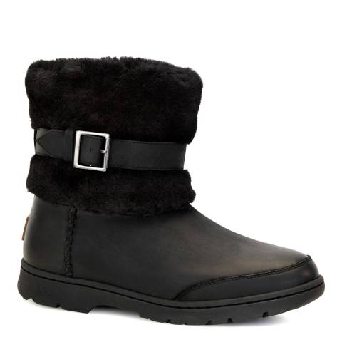 UGG Black Leather Brielle Ankle Boots