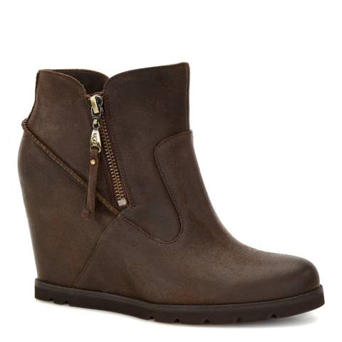 UGG Brown Leather Myrna Wedge Ankle Boots