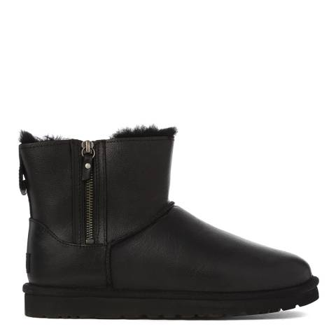 9d2e9eaf885 UGG Black Leather Classic Mini Double Zip Boots