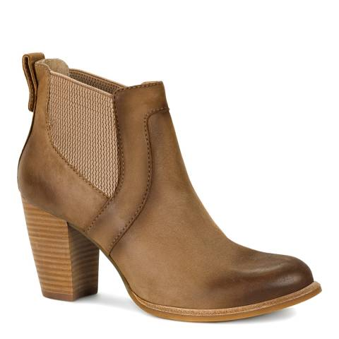 UGG Tan Leather Cobie Heeled Chelsea Boots
