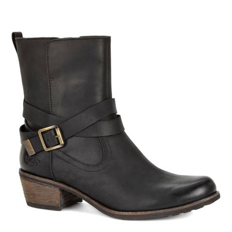 UGG Black Leather Water Resistant Lorraine Boots