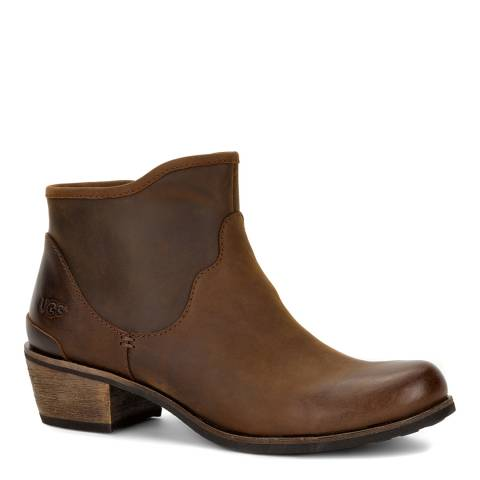 UGG Brown Leather Penelope Ankle Boots