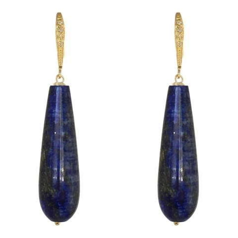 Liv Oliver Lapis Pave Tear Drop Earrings