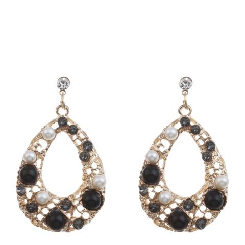 Liv Oliver Gold Onyx Pearl Multi Stone Tear Drop Earrings